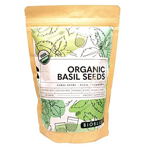 Biobliss Organic Basil Seeds 16 oz – USDA Organic – Edible Basil Seeds – Basil Seed Drink in 15 Minutes – Premium Quality – Vegan – Keto-Friendly