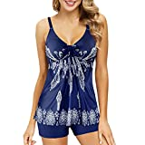 Zando Women Printed Swimwear Halter Strap Plus Size Sporty Bathing Suit Two Piece Slimming Tankini Swimsuits for Women Navy Blue White Floral X-Large (US 12-14)