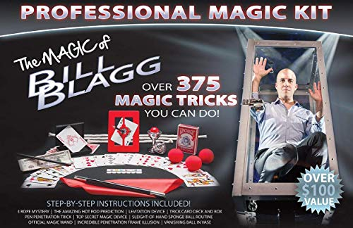 Bill Blagg Professional Magic Kit - Over 375 Amazing Magic Tricks! Perfect for Kids & Adults - Easy to Learn - High Quality Magic - Ideal for Beginners of All Ages!