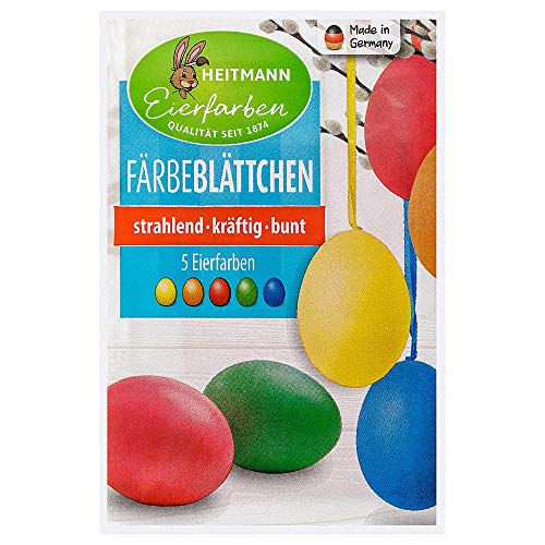 Heitmann Eierfarben Färbeblättchen für Ostereier - 5 Farben - für weiße und braune Eier - Ostern - Ostereier bemalen, Ostereierfarbe