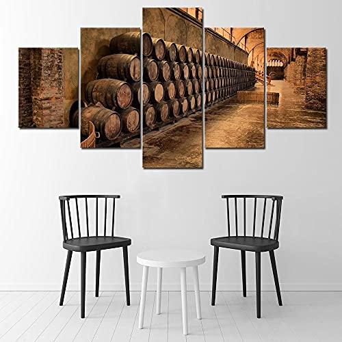 GONGXIANG 5 lienzos para decoración de sala de estar, diseño de barril de vino con marco, se puede colgar (60 x 32 pulgadas)