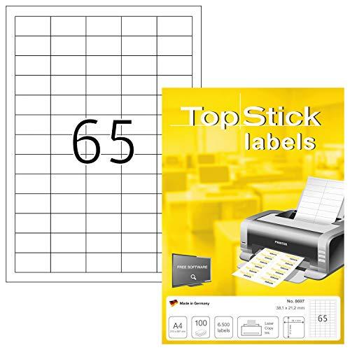 TopStick 8697 Universal Etiketten DIN A4 klein (38,1 x 21,2 mm, 100 Blatt, Papier, matt) selbstklebend, bedruckbar, permanent haftend Adressaufkleber, 6.500 Klebeetiketten, weiß