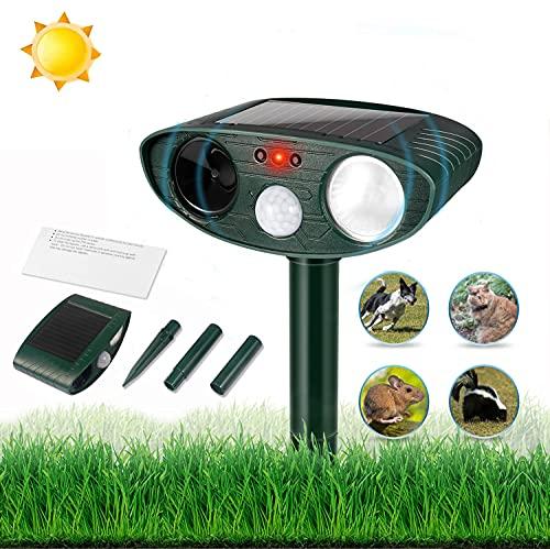 Ultraschall-Marderschreck, Garten-Katzenschreck mit Bewegungsmelder und LED Blitz, Solarbetrieb, Marderschreck Katze Ratten Hund Vögel Füchse Tier (Wasserdicht)