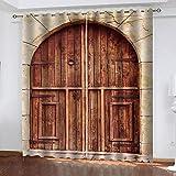 bdbdff Cortinas Opacas 3D Paisaje De Puerta De Madera,Adecuado para Dormitorio Sala De Estar Habitación Infantil Cortinas Opacas 2 Paneles150Wx166H Cm