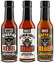 Aubrey D. EXTREME Hot Sauce Sampler Ghost Pepper, Scorpion Pepper and Carolina Reaper 51 Hot Sauces Set of 3 bottles 5 oz each