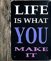 人生はあなたが作るパブホームヴィンテージスタイルメタルサインアイアン絵画屋内 & 屋外ホームバーコーヒーキッチン壁の装飾 8 × 12 インチ