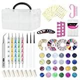 Nail Art Kit, 69Pcs Nail Design Tools Nail Art Brushes, Nail Art Supplies for Beginners with Nail Organizer, Nail Tape Strips Rhinestones Glitters Decal Sequins, Sponge, Pen, and Pick-Up Tweezers