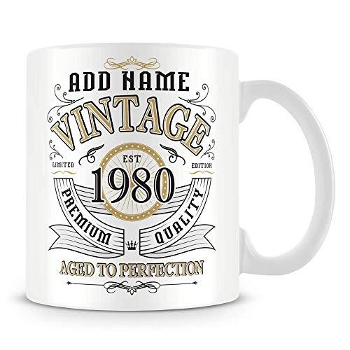 Taza de café, diseño vintage de 1980 envejecido a la perfección, regalo personalizado, taza de café de cerámica, 11 onzas, color blanco