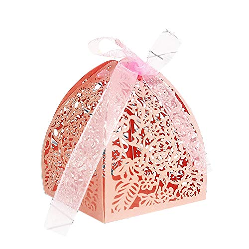 YOZATIA 50pcs Laser Cut Rose Gift Boxes with 50 Ribbons, 2.6''x2.6''x2.8'' Favor Boxes for 16 Birthday Party Wedding Favor (Pink)