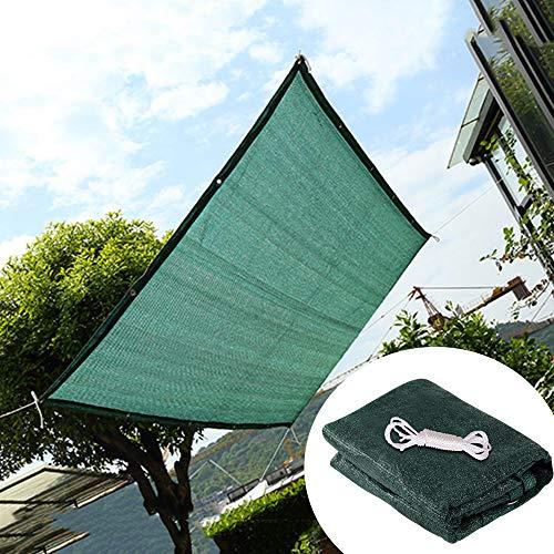 Red de sombreado verde, HDPE grueso tela de sombreado aislante y transpirable, 2 x 3 m, 3 x 5 m con hebilla de aluminio.