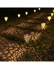 Lampa solarna ogrodowa, metalowa, 4 sztuki, lampa solarna do ogrodu, LED, ciepła biel, lampa ogrodowa, dekoracja IP44, wodoszczelna na zewnątrz, taras, trawnik, ścieżkę, klasa energetyczna A++]