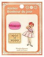 フランス製 木製ボタンセット (女の子とお菓子セット) アトリエ・ボヌール・ドゥ・ジュール ATLIERSET016