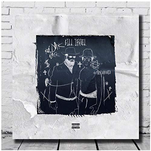 Lefgnmyi Kodak Black Poster Leinwand Bill Israel Art Wanddruck für Wohnwand Wohnzimmer Dekor -24x24 IN No Frame