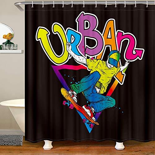 Loussiesd Hip Hop Decor Shower Curtain Young Man Skateboard Bath Curtain For Kids Teens Extreme Sports Bathroom Fabric Shower Curtain Set Hipster Waterproof Curtains Stalls Bathtubs Decor 180x240cm