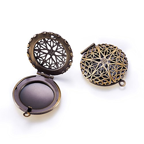 Beadthoven 2pcs Romantic Photo Brass Diffuser Locket Pendants Aromatherapy Locket Necklace Charms Picture Frame Charms for NecklaceDIY Jewelry Making Antique Bronze Flat Round Hole: 2mm