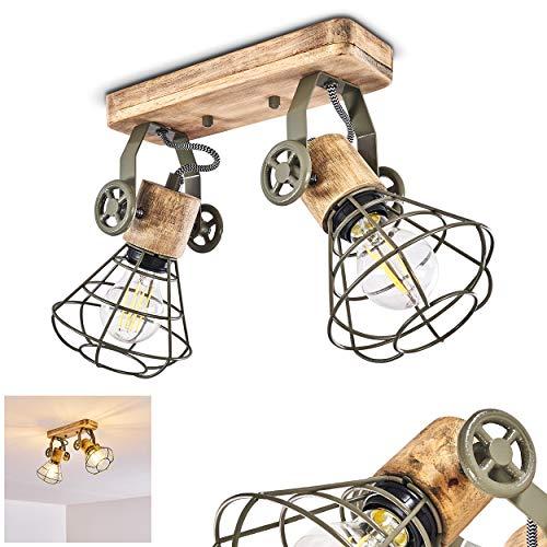 Deckenleuchte Nifun, Deckenlampe aus Metall/Holz in Grün/Braun, 2-flammig, mit verstellbaren Strahlern, 2 x E27-Fassung max. 60 Watt, Spot im Retro/Vintage Design, für LED Leuchtmittel geeignet