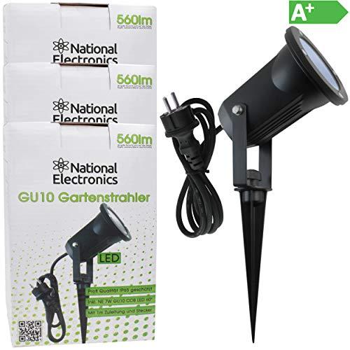 National Electronics Gartenstrahler LED mit Erdspieß GU10 inkl. 7W COB LED Aussenstrahler LED Gartenleuchte Gartenlampen Set Ambientebeleuchtung Strahler außen Garten Gartenbeleuchtung IP65 3er Set