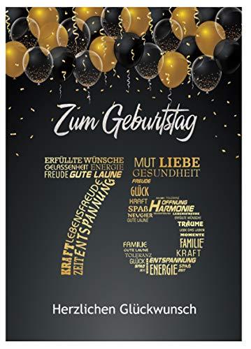 Elegante Glückwunschkarte zum 75. Geburtstag Geburtstagskarte mit Nummer 75 Glückwünschen Schwarz Gold Karte 75. Geburtstag