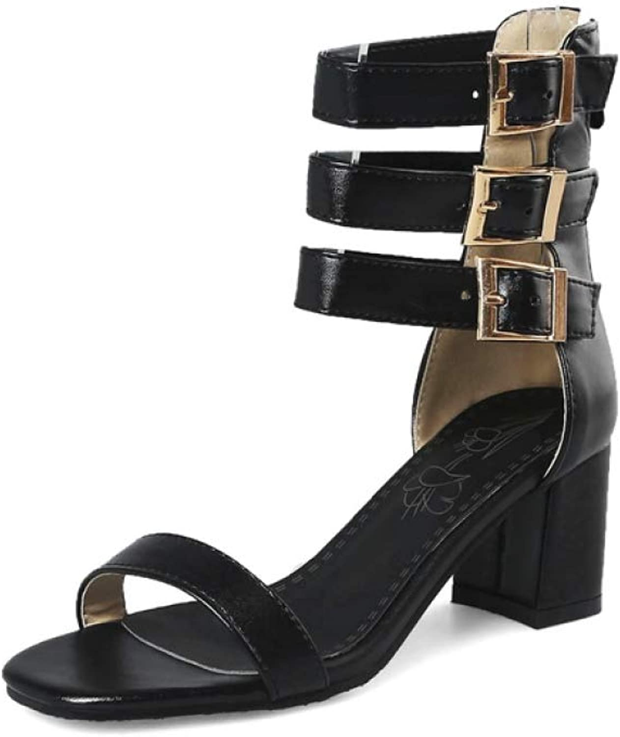 T-JULY Fashion Gladiator Sandals Square High Heels Buckle Women Sandals Summer Ladies Dress shoes
