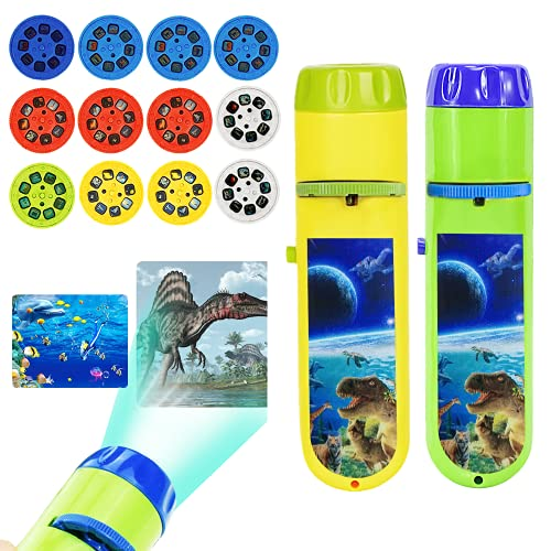 Wenosda Diaprojektor Taschenlampe Projektionslicht Spielzeug Taschenlampen Lampe Taschenlampe Projektor Schlafenszeit Nachtlicht für Kinder, Kleinkinder(Dinosaurier + Meerestiere + Tiere + Raum)