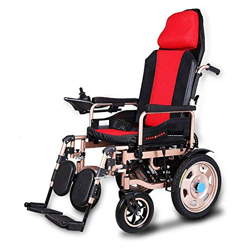 L&LQ Silla De Ruedas Eléctrica Anciano Discapacitado Coche Anciano Portátil Inteligente Scooter Multifuncional Plegable,Red