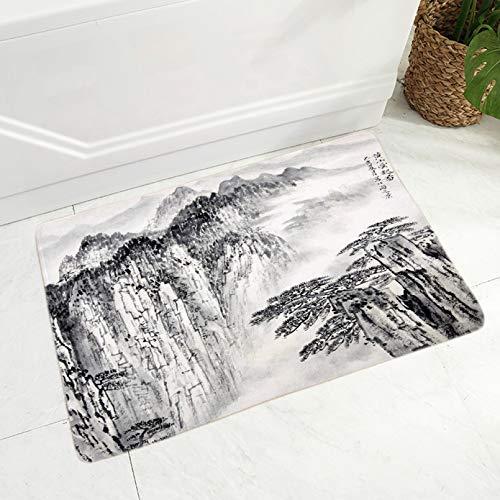 Alfombrilla de suelo de tinta china para habitación de niños, dormitorio, decoración antideslizante, para paisaje, hermosa alfombra de paisaje, 50,8 x 81,3 cm