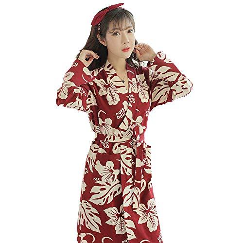 Trucco lunghe in cotone leggero pigiama nuziale Robe Robe di mattina a manica lunga camicia da notte femminile puro cotone lunga Accappatoio Accappatoio sezione sottile di cotone Camicia da notte, XL