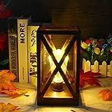 Lámpara de Mesita de Noche, Lámpara de Mesa Retro, Lámpara de Noche LED, Funciona con Pilas con Temporizador para Lámpara de Ambiente de Jardín de Mesa al Aire Libre, luz Blanca Cálida