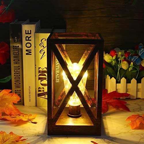Nachttischlampe, Retro Tischlampe, Batteriebetrieben Tischleuchte Vintage Nachtlicht Desk Lamp mit Timing-Funktion für Schlafzimmer Wohnzimmer Esszimmer Büro Warmweißem Licht, Deko