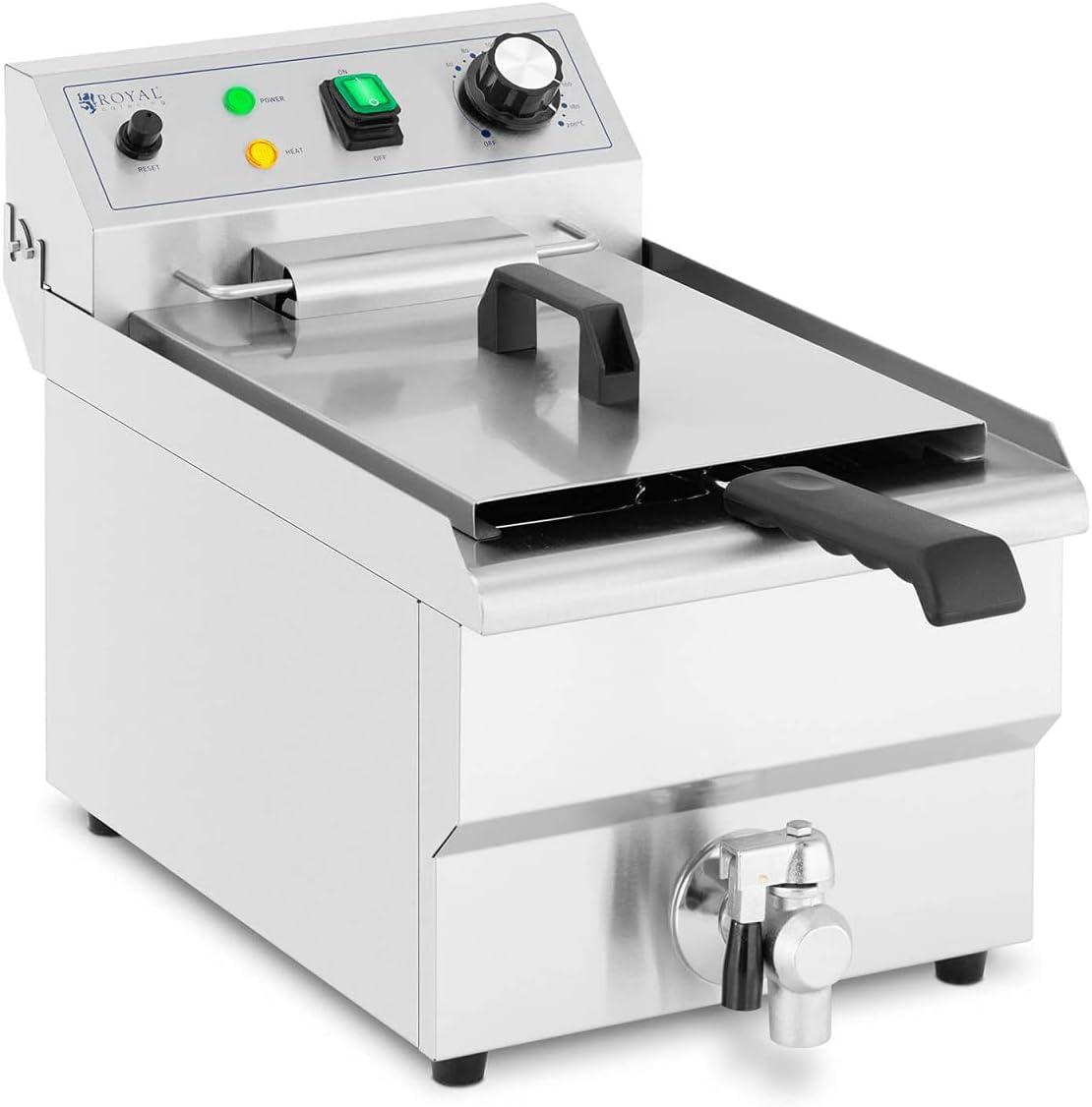 Royal Catering Freidora Eléctrica Profesional para Hostelería RCPSF 9ETH (Volumen: 9 L, 3000 W, Con grifo de vaciado y zona fría)