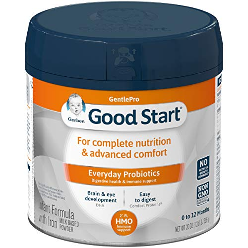 Gerber Good Start GentlePro (HMO) Non-GMO Powder Infant Formula, Stage 1, Gentle Baby Formula with Iron, 2'-FL HMO and Probiotics for Digestive Health and Immune System Support, 20 Ounces