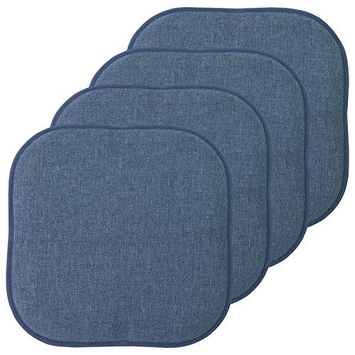 Sweet Home Collection Chair Cushion Memory Foam Pads Honeycomb Pattern Slip Non Skid Rubber Back Rounded Square 16' x 16' Seat Cover, 4 Pack, Alexis Denim