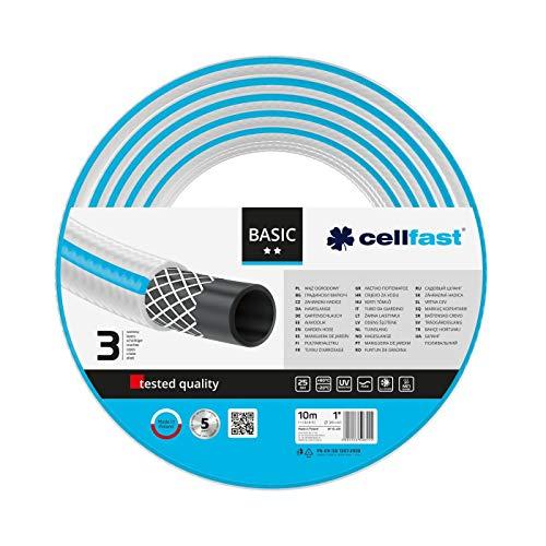 Cellfast Gartenschlauch Basic 3-lagiger Schlauch mit dauerhafter Verstärkung aus Garn höchster Qualität mit Polyesterkreuzgewebe,Druck- und UV-beständig 25 bar Berstdruck, 10m, 1zoll, 10-431