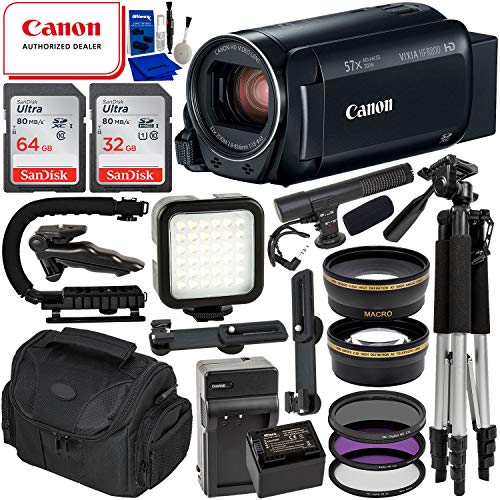 Canon VIXIA HF R800 Camcorder (Black) & 14PC Deluxe Accessory Bundle - Includes: SanDisk Ultra 64GB & 32GB SD Memory Cards + Extended Life BP727 Replacement Battery + Mini Condenser Microphone + More
