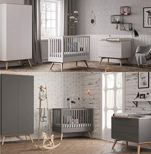 Babyzimmer Kinderzimmer komplett Set Nils weiß Bett Schrank Kommode weiß oder grafit