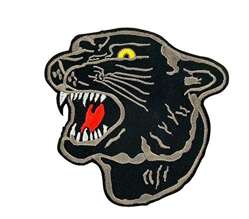 Akachafactory Abzeichen, Aufnäher, Bestickt, für Rucksack, Motiv; schwarzer Panther, zum Aufbügeln