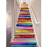 12pcs Etiquetas engomadas de la escalera, Arcoíris de estilo 3D de madera autoadhesiva Decal Escaleras Escaleras de bricolaje extraíbles Pasos Decoración Papel 100x18cm (Colorful)