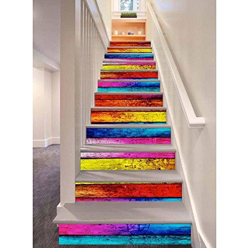 12 stücke Treppe Aufkleber, 3D Regenbogen Holz Stil selbstklebende Treppe Decals Abnehmbare DIY Treppen Schritte Decor Papier 100x18 cm (Colorful)