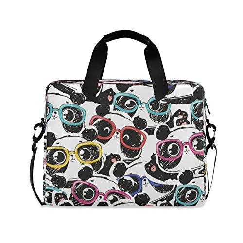 HMZXZ Funda para portátil con diseño de gafas de panda para ordenador portátil de 13 a 14 a 15,6 pulgadas, maletín de transporte para el trabajo escolar