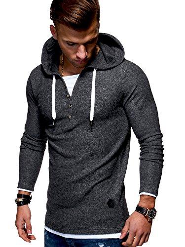 MT Styles Herren 2in1 Oversize Hoodie Pullover Kapuzenpullover Henley MT-7437 [Dunkelgrau, XL]