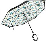 Impresión dibujada a mano de ilustración de niño y niña con personajes de animales paraguas de estilo de dibujos animados con mango en forma de C,Paraguas inverso del coche