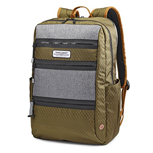 American Tourister Straightshooter Backpack, Olive/Black/Grey, 18-Inch
