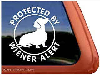 Protected by Wiener Alert Dachshund Vinyl Window Decal Dog Sticker