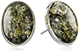 Sterling Silver Green Amber Small Stud Earrings