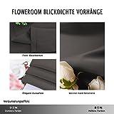 FLOWEROOM Blickdichte Gardinen Verdunkelungsvorhang - Lichtundurchlässige Vorhang mit Ösen für Schlafzimmer Geräuschreduzierung Grau 245x140cm(HxB), 2er Set - 3