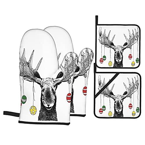 Alce di Natale con palline di ornamenti natalizi appesi alle corna Funny Noel Ske,4Pcs Guanti da Forno e Set di Presine,Cucina Guanti con Antiscivolo Pastiglie per Cucinare,Cuocere al Forno,Grigliare