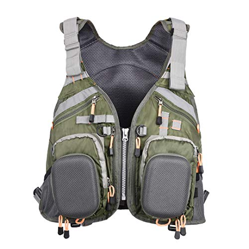 HYOUT Adjustable Fly Fishing Vest Safety Life Outdoor Jacket with...