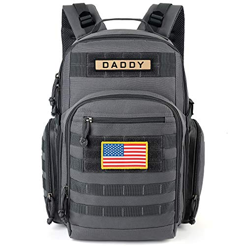 ESPIDOO Diaper Bag Backpack for Dad, Military Backpack with Molle System, Large Travel Baby Bag Backpack for Men, Grey