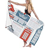 Quick Drying Microfiber Towel,for Lightweight Home & Gym Travel,London United Kingdom Themed Landmarks and Flags, Beach & Sports Camping & Hiking Towel1