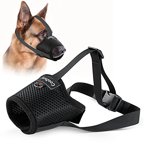Dog Muzzle, Mesh Breathable Dog Muzzles for Biting Barking and Chewing, Adjustable Pets Muzzle for Small Medium Large Extra Dogs with Velcro and Buckle (L)